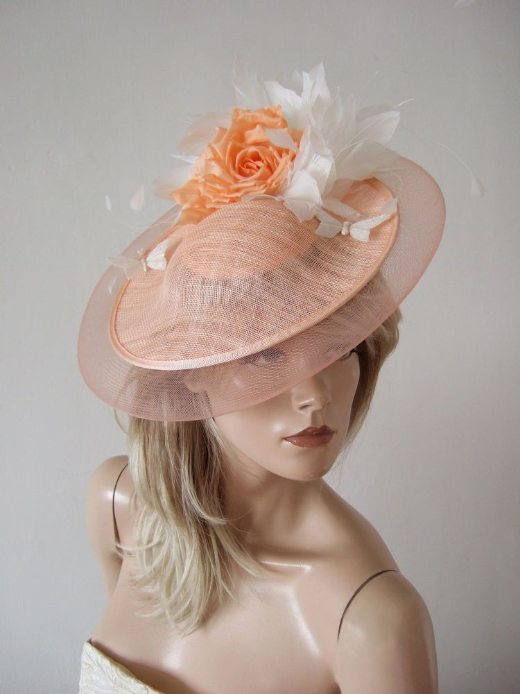 "Peach Floral and Butterfly Disc Feather Hat Headpiece Fascinator ""Jan"" Kentucky Derby Royal Ascot"